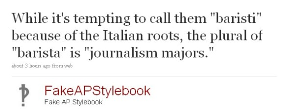 Fake AP Stylebook on Twitter