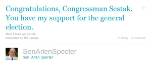 Specter Concedes via Twitter